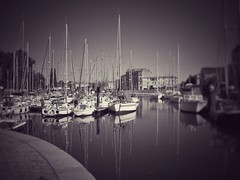 Peaceful morning in Brittany (LUMEN SCRIPT) Tags: dream unsharp blur softfocus peaceful peace reflections mirror mast france brittany port harbor water ocean boat monochrome