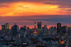 Sunset over Tokyo Tower (Yasunobu Ikeda) Tags: 品川区 東京都 日本 jp