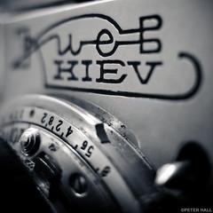 Kiev 4 (peterphotographic) Tags: img7697sqcb2portraitiiedwm photographygearequipment canon g15 canong15 square camerabag2 macromondays ©peterhall walthamstow e17 eastlondon london england uk britain blackandwhite blackwhitephotos bw monochrome russian camera 35mm rangefinder cameraporn cameracollection macro closeup depthoffield dof bokeh soviet film