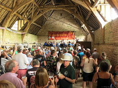 Tewkesbury Town Band and drinkers in the tithe barn at the 2018 Cotswold Beer Festival (Phil Heneghan) Tags: img1814 cotswoldbeerfestival postliphall winchcombe gloucestershire uk summer july 2018 camra beerfestival cotswolds canonpss11020180721 tithebarn barn medievaltithebarn tewkesburytownband