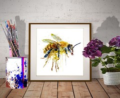 Watercolor Bee (marianv2014) Tags: watercolor bee bees watercolorpainting insects insectart wallart walldecor insectposter watercolorposter squareformat blue yellow dripping kitchenwallartpaint splashes splatters roomdecor beautiful wildlife nature illustration artwork art contemporary modernart single decor affordableart artgifts aquarelle fineart moderndecor charming orange whitebackground cute