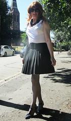 Casting Shadows (Amber :-)) Tags: black sunray pleated short skirt tgirl transvestite crossdressing