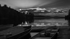 Smoke (Bert CR) Tags: algonquin landscape vacation ontarioparks ontarioprovincialpark provincialpark algonquinprovincialpark algonquinpark canoelake boats bw blackandwhite blackwhite monochrome smoke skancheli