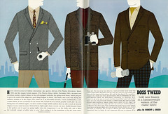 Illustrated 1966 Men's Fashion Ad/Layout, Boss Tweed Blazers, Playboy (2 pages) (classic_film) Tags: fashion 1966 1960s sixties menswear blazer jacket coat art artwork illustration magazine retro revista classic clásico añejo alt american america anuncio old nostalgia nostalgic época ephemeral usa unitedstates reklame ropa kleidung advertising advertisement advert ad anzeige ads printad publicidad publicité tweed fabric commercialism consumerism style