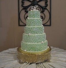 zara (mandotts) Tags: abstract green weddingcake pearls explore swirls scrolls bridescake tieredcake sugarpaste brassstand