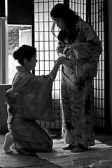 Kitsuke Lesson (musicmuse_ca) Tags: blackandwhite bw santacruz beautiful 1025fav 510fav wow wonder interestingness friend shadows great 2550fav zen photofriday wa kimono lesson matsuri  kitsuke  natsumatsuri interestingness248 i500 abigfave allanwatts