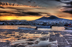 Italian Morning (Stuck in Customs) Tags: ocean morning sunset italy sunrise bay italia d70 pompeii napoli naples vesuvius hdr pompei