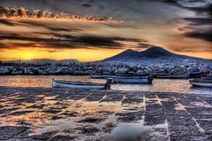 Italian Morning (Stuck in Customs) Tags: ocean morning sunset italy sunrise bay italia d70 pompeii napoli naples vesuvius hdr pompei