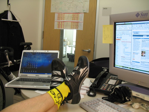 me socks cycling shoes desk
