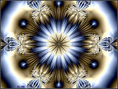 METALLIC CHRYSANTHEMUM!! (MONKEY50) Tags: white abstract color colour art colors digital colours mandala fantasy paintshoppro fractals hypothetical mandalas flickraward ringexcellence