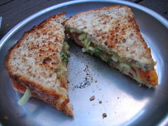 Grilled cheese (with onion, broccoli, and tomato)