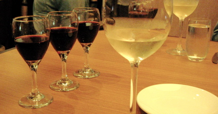 A flight of red wine