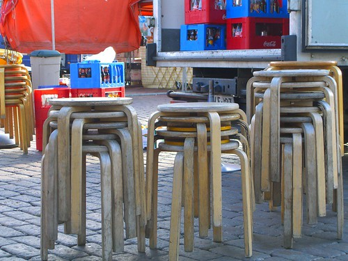 Aalto Stools in an outdoor market