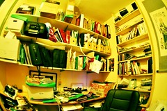 I love clutter (sindesign) Tags: paper office nikon mess tudor fe zenitar shelves clutter myoffice untidy