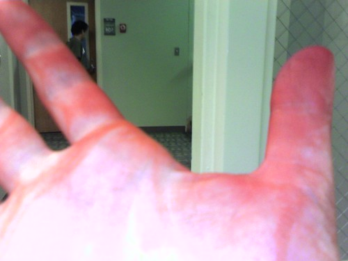 food colored hand