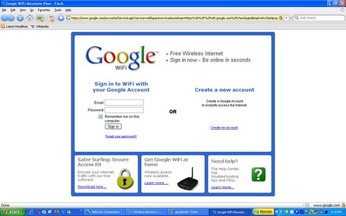 Google WiFi login page