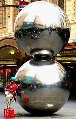 A Busker with Balls (Mowling) Tags: reflection mall geotagged balls australia fisheye adelaide drumming busker southaustralia spheres milkcrate rundlemall geo:tool=gmif mowling geo:lat=34921320 geo:lon=138605382 shannonmowling