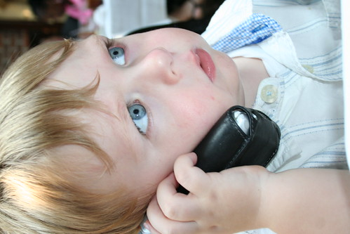 Loch on the phone with Roly