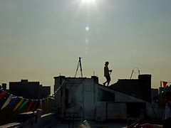 roof top party (aphasiafilms) Tags: camera roof sunset sun video shoot glare profile musicvideo rapture someguy therapture