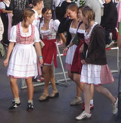The mini-skirt/dirndl is an interesting combin...