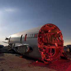 Clipped and Headless (Lost America) Tags: longexposure lightpainting night jet fullmoon timeexposure junkyard boneyard airliner 727 deltaairlines aviationwarehouse
