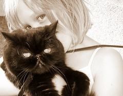 two beauties.. (arny johanns) Tags: friends light pet black cute girl beautiful sepia digital cat canon dark hair fur eyes pretty blonde beauties kisa lind rebekka kttur tinna ixus50 stlka abigfave