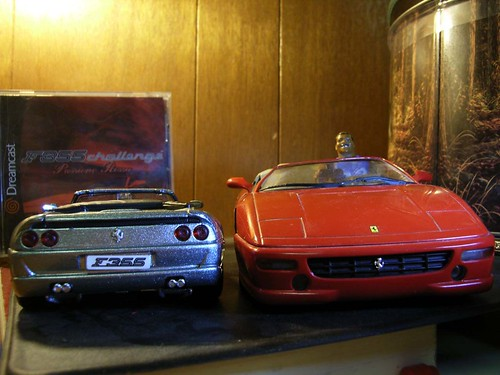 Two Ferrari F355 model cars.