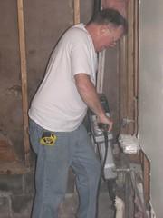 Dad with the Jack Hammer (Brandon Sutler) Tags: bathroom dad demolition homeimprovement jackhammer remodeling powertool