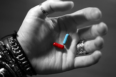 Matrix pills (ThomasThomas) Tags: blue red matrix rouge hand braces main fingers bijou palm ring bleu bracelet neo duality choice pills left pill morpheus meds paume gauche bague pilule dilemma doigts choix dualit cotcmostfavorited mdicament gellule dilemne