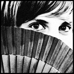 Mata Hari - 4 (Christine Lebrasseur) Tags: portrait people blackandwhite woman france eye art 6x6 canon 350d fan mujer eyes bordeaux ojos blandine 500x500 interestingness331 lookatyou weeklyfav06 allrightsreservedchristinelebrasseur selectbestexcellence sbfmasterpiece