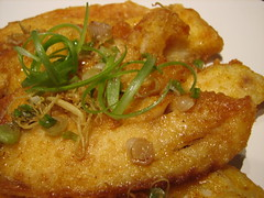 Crispy golden tilapia topped with ginger, scallions, soy sauce and mirin (Sashertootie) Tags: dinner ginger homemade turmeric tilapia