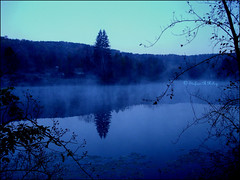 Dawn in Shawnee (Rosebud Photography (medieval panda)) Tags: blue mist reflection fog forest landscape ilovenature dawn pond explore pa 221 roadsideattractions verycold cotcbestof2006 andveryearlyformeanyway shawneemountainskiarea twtmesh280707