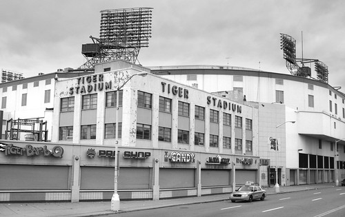 Tiger Stadium provides a classic example of urban decay on the corner of Michigan & Trumbull in Detroit.
