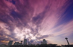Skyline (Wolfgang Staudt) Tags: travel blue sky usa water colors fog skyline clouds wow wonderful river niagarafalls boat nikon holidays rocks waves skyscrapers nikond70 sigma waterfalls horseshoe vacancy skylontower niagarariver travelphotographie wolfgangstaudt sigmaaf4561020dchsm