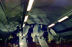 London Underground (jonathonbennett8631) Tags: tube underground escalator cinestill800t streetphoto lights reflections crouds londonstreets