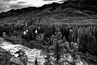 Bow River and the Banff Springs Hotel from Surprise Point (Black & White, Banff National Park)