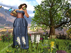Stop & Smell the Daisies (Pixel Beast) Tags: daisy daisies roses flowers stop smell bdr focus poses beast beautiful dirty rich sundress summer hilltop demin floral print picking sexy girl woman mountains hills relax blue trees dress butterfly bullterflies sniff meadow field basket vacation thepixelbeast pixelbeast pixel secondlife second life thesims maxi avatar avi avikin fashion blog blogger style stylist