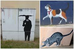 etwas Regen :-) - some rain (Anke knipst) Tags: flensburg germany painting cat katze regenschirm umbrella verteilerkasten distributionbox graffiti streetart stencil collage