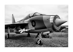 A Lightning T5 (PeteZab) Tags: blackwhite mono bw toned englishelectric lightning t5 xs417 aircraft british uknewark nottinghamshire aeroplane plane