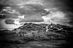 The Almighty (Missy Jussy) Tags: blackwhite bw blackandwhite mono monochrome moodylandscape moody atmosphere landscape land sky clouds northeastcoast northsea northumberland man trevorkerr grass hillside light vignette 5d canon5dmarkll canon5d canoneos5dmarkii canon ef50mmf18ii