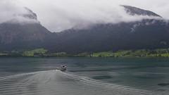 Lake from St Wolfgang-E7060137 (tony.rummery) Tags: austria boat clouds em10 ferry landscape mft microfourthirds omd olympus wake wolfgangsee sanktwolfgangimsalzkammergut oberösterreich at