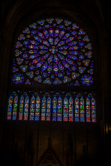 The stained glass in Notre Dame church.