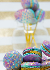 More Mermaid Macarons (Do The Macarona) Tags: macaron macarons frenchmacaron frenchmacarons mermaid colorful buttercream meringue eggs gold mermaidpops french pastry parisian cookies