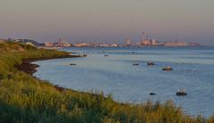 The view from Hittarp towards Helsingborg tonight (frankmh) Tags: landscape evening seashore coastline water sky hittarp helsingborg öresund sweden