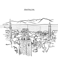 Antalya Travel Sketch (Hebstreits) Tags: antalya architecture attraction background banner building card city clock coast design destination drawing drawn famous freehand greeting hand handdrawn historic historical house illustration landmark landscape line old outline palm pencil rock sea sketch stone summer symbol tourism tourist tower town travel tree turkey turkish vacation vector view water white