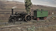 Heading For The Next Job. (ManOfYorkshire) Tags: steam engine ploughing traction workers caravan oxforddiecast diecast scale model 176 oogauge diorama detailed driver copuntryside country agriculture farm folwer bb1
