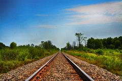 Long Road Home (flashfix) Tags: august052018 2018inphotos ottawa ontario canada nikond7100 40mm landscape lines skies foliage green traintracks tracks sky bluesky vanishingpoint
