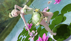 LOTUS POCUS_ISIS (kyoka jun) Tags: irrisistible enchantment event shop fantasy princess frog maitreya belleza slink hourglass mesh dress design new headpiece jewels jewelry richwomen sl secondlife clothes fashion costume fancy lotus flowers hud waterlily movie