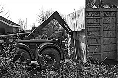 20 Nidderdale Monochrome (brianarchie65) Tags: blackandwhite blackandwhitephotos blackandwhitephoto blackandwhitephotography 20nidderdale rubbish rubble litter flickrunofficial flickruk flickr flickrcentral ukflickr ngc lapollution canoneos600d geotagged brianarchie65 digger lorry fence