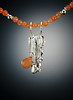 Sterling Silver Pine Straw Cast Pendant (Wild Ivy Studio) Tags: pendant sterling silver pinestraw cast orange jade necklace